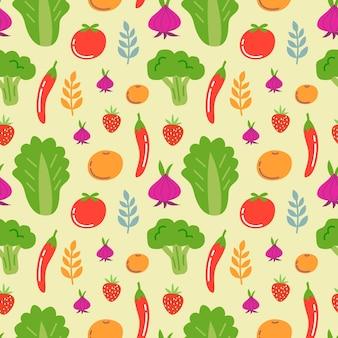 Nahtloser musterhintergrund des frischen gemüses und der früchte