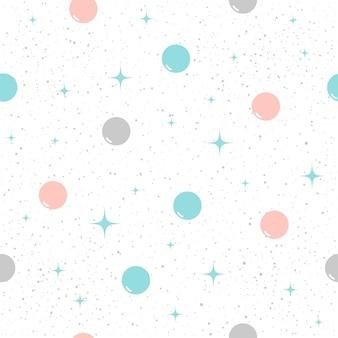 Nahtloser musterhintergrund des kreises. grauer, blauer und rosa kreis. abstraktes kindisches einfaches muster für karte, einladung, urlaubsverpackungspapier, poster, bucheinband, sammelalbum, textilgewebe, kleidungsstück.