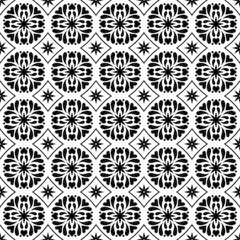 Nahtloser musterhintergrund des mandalas. arabesque blumenverzierung tapete. elegantes ethnisches klassisches batikmotiv