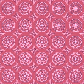 Nahtloser musterhintergrund des mandalas. geometrische form tapete. blumenblumenornament in rosa farbe
