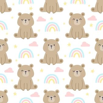 Nahtloser musterhintergrund des teddybären und des regenbogens