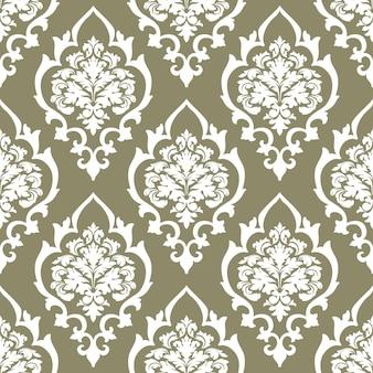 Nahtloser musterhintergrund des vektordamastes. klassisches, luxuriöses, altmodisches damast-ornament, königliche viktorianische nahtlose textur für tapeten, textilien, verpackungen. exquisite florale barockvorlage.
