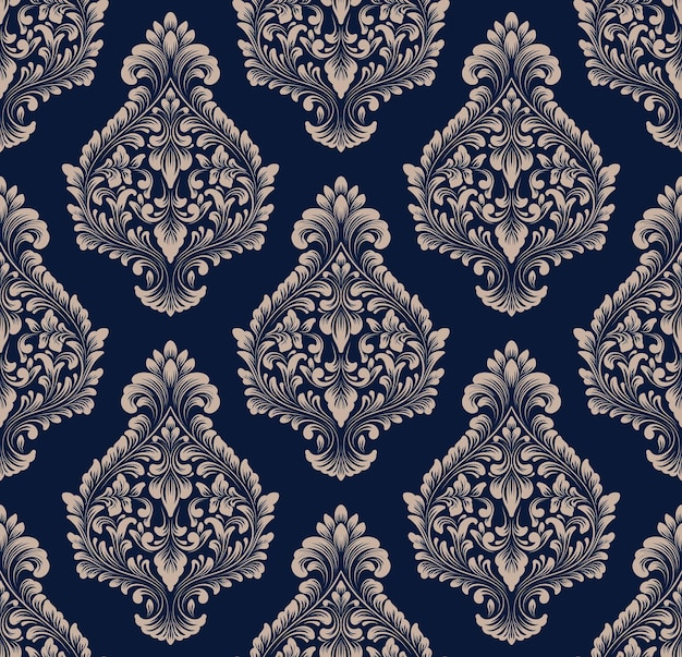 Nahtloser musterhintergrund des vektordamastes. klassisches, luxuriöses, altmodisches damast-ornament, königliche viktorianische nahtlose textur für tapeten, textilien, verpackungen. exquisite florale barockvorlage. Kostenlosen Vektoren