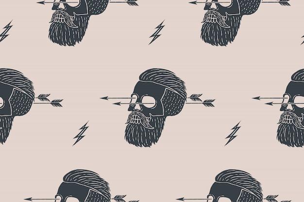 Nahtloser musterhintergrund des weinlese-schädel-hipsters mit pfeil
