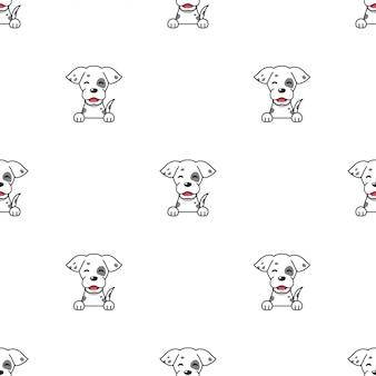Nahtloser musterhintergrund des zeichentrickfigurenhundes