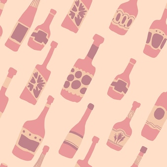 Nahtloser musterhintergrund mit barflaschen. handgezeichnete verschiedene glasflaschen. vektor-illustration