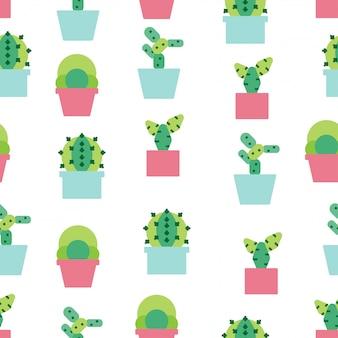 Nahtloser musterhintergrund mit nettem kaktus.