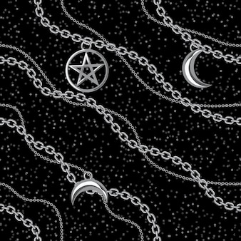 Nahtloser musterhintergrund mit pentagram- und mondanhängern auf silberner metallischer kette. auf schwarz.
