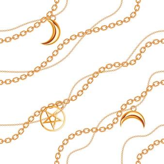 Nahtloser musterhintergrund mit pentagramm- und mondanhängern auf goldener metallkette.