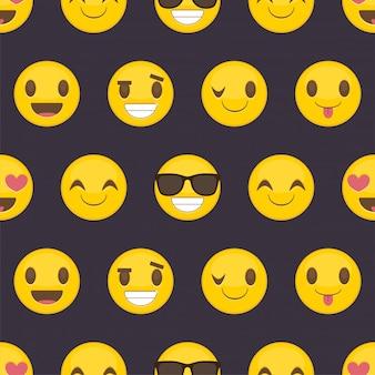 Nahtloser musterhintergrund mit positiven glücklichen smileys