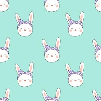 Nahtloser musterhintergrundkopf des kaninchens auf süßem pastell