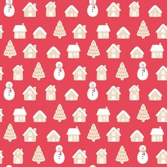 Nahtloser musterhintergrundsatz der frohen weihnachten lebkuchen