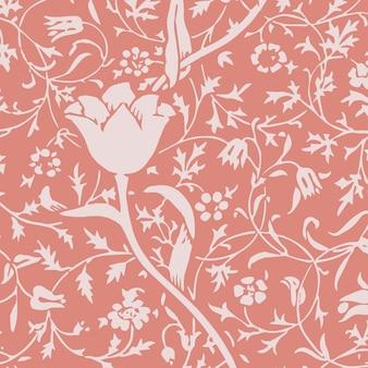 Nahtloser musterhintergrundvektor der dekorativen weinleseblumenverzierung