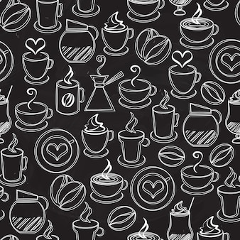 Nahtloser musterhintergrundvektor des kaffees mit weißen symbolen auf schwarz einer kaffeekanne und eines perkolators dampfende becher und tassenbohnenherzen-espressofilter-cappuccino und eiskaffee im quadratischen format
