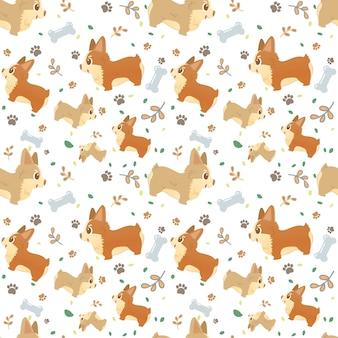 Nahtloser musterkarikaturhundezucht corgi mit den tatzen, den blättern und den knochen.