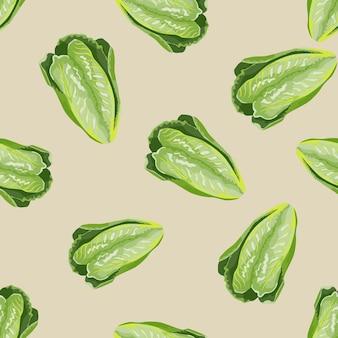 Nahtloser mustersalat romano auf beige hintergrund. minimalismus-textur mit salat.