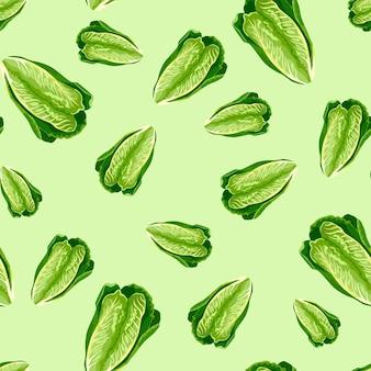 Nahtloser mustersalat romano auf pastellgrünem hintergrund. minimalismus-textur mit salat.