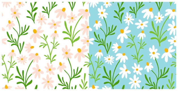 Nahtloser mustersatz der kamille und des gänseblümchens. wildblumen-print-design mit handgezeichneten blumen auf hellem hintergrund. einfache feldblumenmustersammlung zum verpacken, gewebedesign. blütenkräuterverzierung