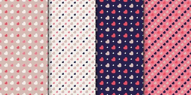 Nahtloser mustersatz von 4 designs mit herzen. mustersammlung mit kleinen herzen.