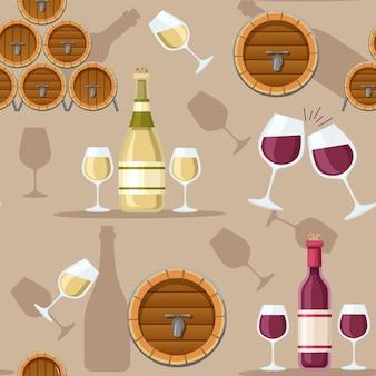 Nahtloser musterstapel aus holzalkoholfass rot- und weißwein in flaschenillustration