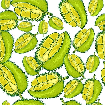Nahtloser mustervektor der früchte durians