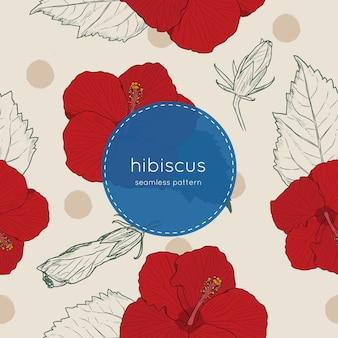 Nahtloser mustervektor der hibiscusblume.