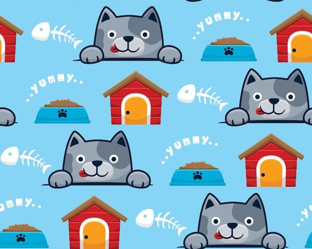 Nahtloser mustervektor der kätzchenkarikatur mit katzenhaus, futternapf und fischgräte