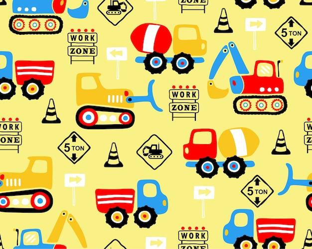 Nahtloser mustervektor der karikatur des industriefahrzeugs