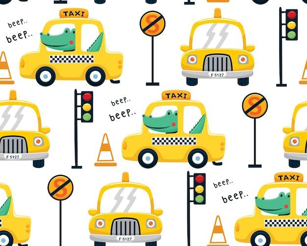 Nahtloser mustervektor der krokodilkarikatur auf gelbem taxi mit verkehrszeichen