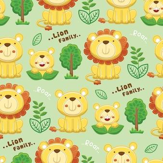 Nahtloser mustervektor der löwenfamilienkarikatur mit bäumen und pflanzen