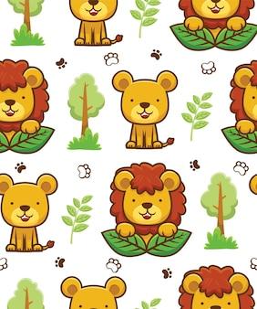 Nahtloser mustervektor der löwenkarikatur mit bäumen und blättern