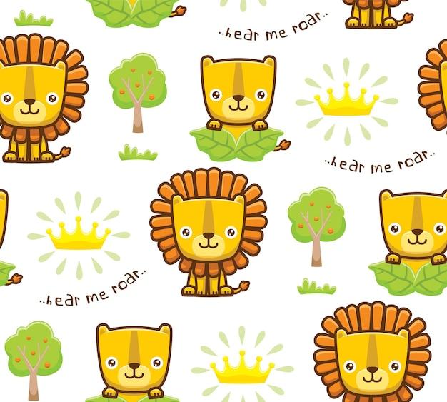 Nahtloser mustervektor der löwenkarikatur mit krone und bäumen