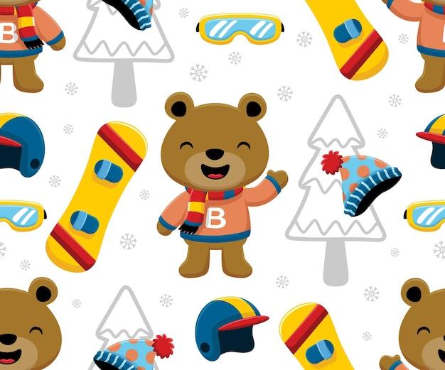 Nahtloser mustervektor der lustigen bärenkarikatur mit snowboardsportelementen