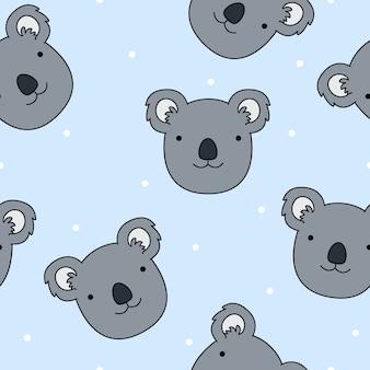 Nahtloser mustervektor der netten koalagesichtkarikatur