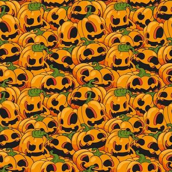 Nahtloser mustervektor des halloween-kürbisses