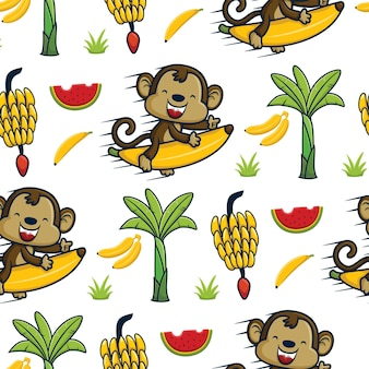 Nahtloser mustervektor des lustigen affen, der fliegende banane mit bananenbaum und früchten reitet