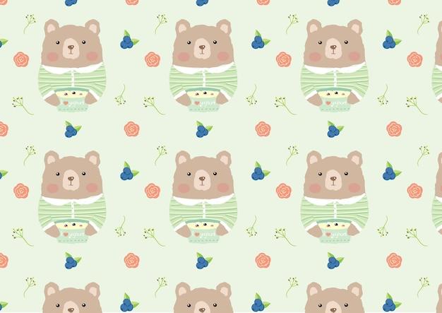 Nahtloser mustervektor des netten bären und des joghurts.