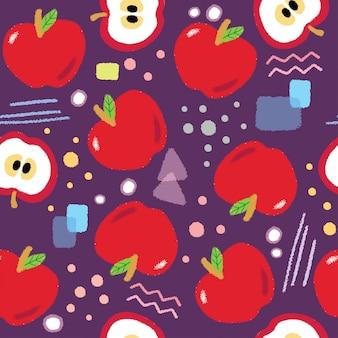 Nahtloser mustervektor des netten roten äpfels.