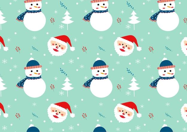 Nahtloser mustervektor des netten schneemannes und des weihnachtsmanns