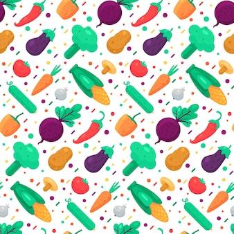 Nahtloser mustervektor des organischen gemüselebensmittels chili und pfeffer, gurke und pilze, mais und tomate, knoblauch und kartoffelfarbe würzen. natürliche karotten-, rüben- und auberginenflache illustration