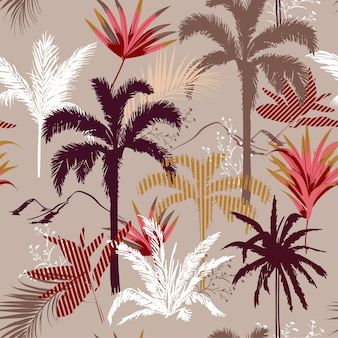 Nahtloser mustervektor des tropischen waldes und der tress