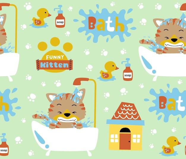 Nahtloser mustervektor mit lustiger kätzchenbadzeit