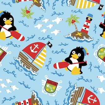 Nahtloser mustervektor mit pinguin der seemann, segelboot, leuchtturm, insel, segellogo