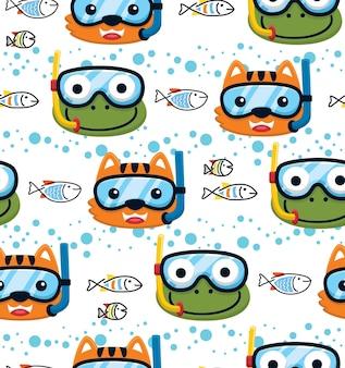 Nahtloser mustervektor von katze und frosch mit tauchermaske mit fischen unter wasser