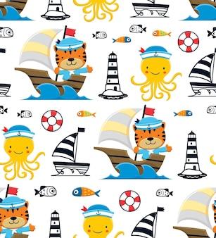 Nahtloser mustervektor von oktopus und katze mit matrosenhut auf segelboot mit segelelementen