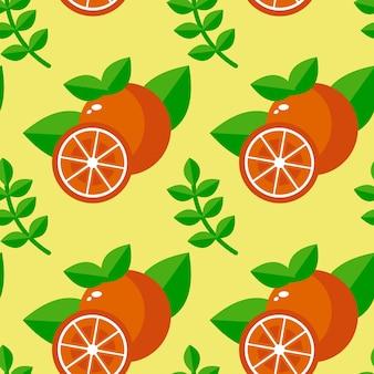 Nahtloser mustervektorhintergrund der frischen orange frucht