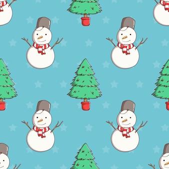 Nahtloser musterweihnachtsbaum und schneemann