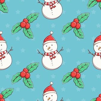 Nahtloser musterweihnachtsschneemann und blätter