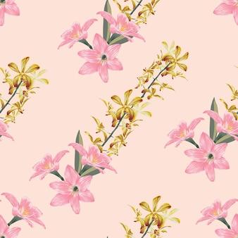 Nahtloser musterweinlesehintergrund mit blumenorchideen- und lilienblumen des handabgehobenen betrages