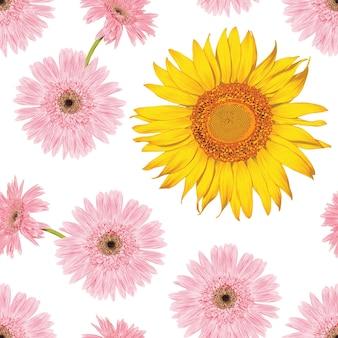 Nahtloser musterweinlesehintergrund mit blumensonnenblumen- und -gerberablumen des handabgehobenen betrages